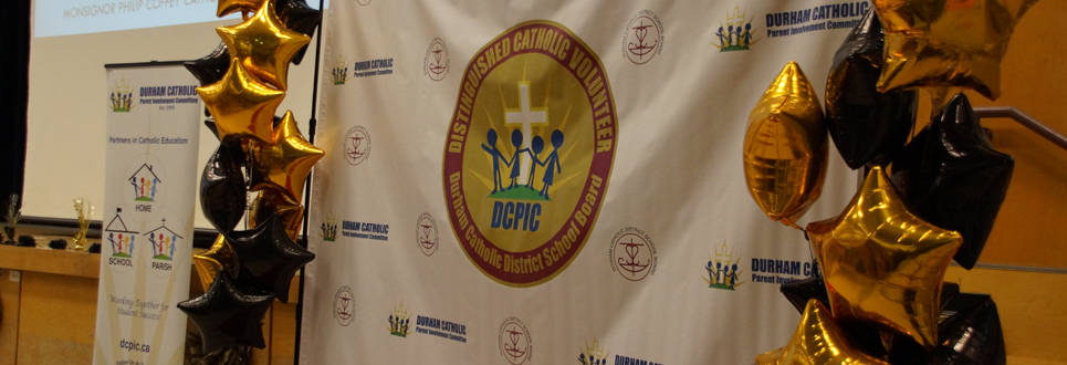 Durham Catholic Parent Involvement Banner and backdrop